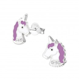 Purple Unicorn Stud Earrings