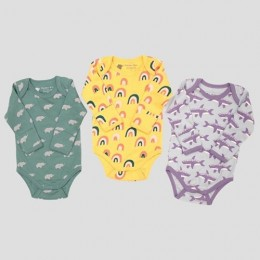 Set of 3 Printed Bodysuit - Elephant, Rainbow and Whale