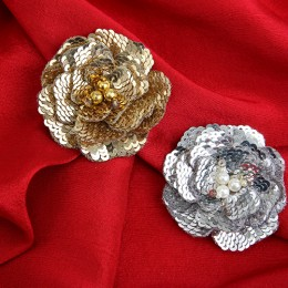 Silver Sequin Carnation Hairclip
