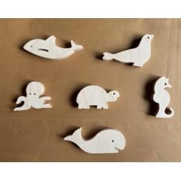 Wooden Animals Figurines Aqua Collection