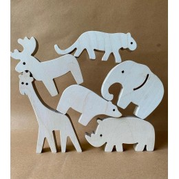 Wooden Animals Figurines Safari Collection