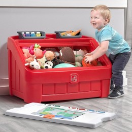 2 in 1 Toy Box and Art Lid Kids Storage Bright Red