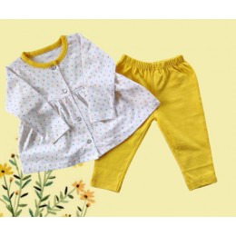 Cotton Top and Legging set- yellow hearts