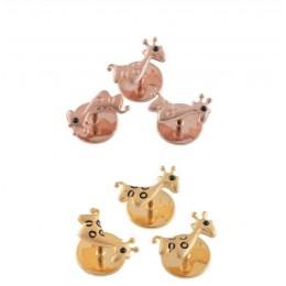 Giraffe Kurta Button Silver - Set of 3