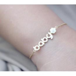 Gold Name bracelet with enamel