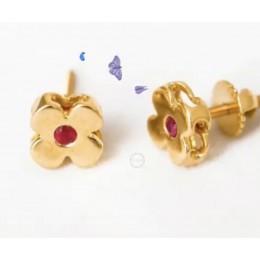Ruby Flower Gold Earrings