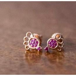 Shimmering Little Feet Earrings in Gold & Ruby