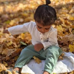 Organic Cotton Essential Bag - White Kurta and Mint Pyjama Pants Set