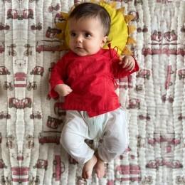 Organic Cotton Koi Bag - Red Angarakha and White Pajama Pants Set