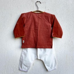 Organic Cotton Madder Kurta + White Pants Set