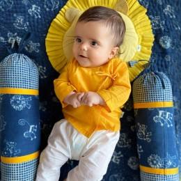 Organic Cotton Zoo Bag - Yellow Angarakha and White Pajama Pants Set