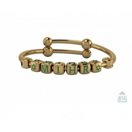 Personalised Silver Bangle Bracelet for Baby & Child - 18 Kt Gold Plated with Dice Cubes