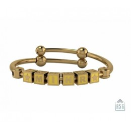 Personalised Silver Bangle Bracelet for Baby & Child - 18 Kt Gold Plated with Square Cubes