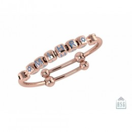 Personalised Silver Bangle Bracelet for Baby & Child - 18 Kt Pink Gold Plated with Dice Cubes