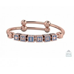Personalised Silver Bangle Bracelet for Baby & Child - 18 Kt Pink Gold Plated with Square Cubes