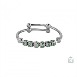 Personalised Silver Bangle Bracelet for Baby & Child - Adjustable with Dice Cubes