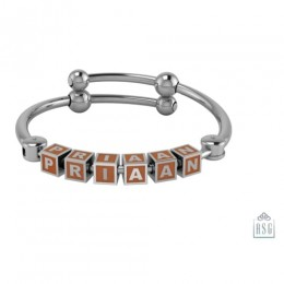 Personalised Silver Bangle Bracelet for Baby & Child - Adjustable with Square Cubes