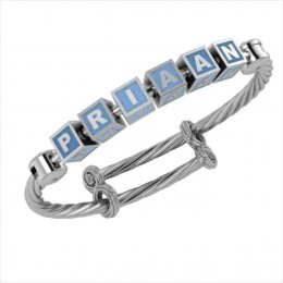 Personalised Silver Bangle Bracelet for Baby to Teen - Adjustable with Square Cubes
