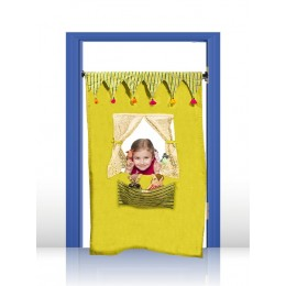 PUPPET THEATRE DOOR CURTAIN -  THE CIRCUS THEME (BHUES OF GREEN)