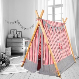 PLAY TENT - PINK & GREY STRIPES