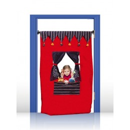 PUPPET THEATRE DOOR CURTAIN -  THE CIRCUS THEME (BLUE & RED)