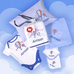 On Cloud 9 - 6 pc Baby Boy Gift Set