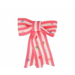 Pink Stripe Bow Hair Clip