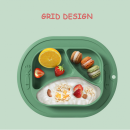 2 in 1 Safe Silicone Divided Placemat Plate – Orange