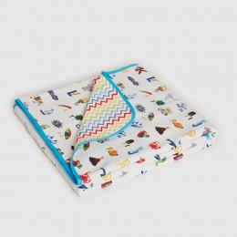 Alphabets Organic Reversible Blanket - Blue