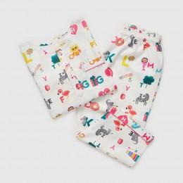Alphabets Organic Pajama Set - Pink