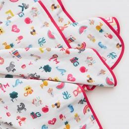 Alphabets Organic Reversible Blanket - Pink