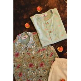 Blue Floral Nehru Jacket Set