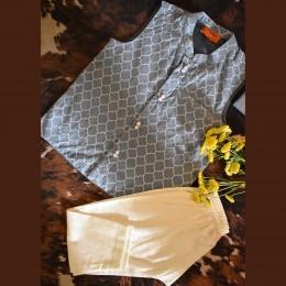 Blue - Grey Nehru Jacket Set