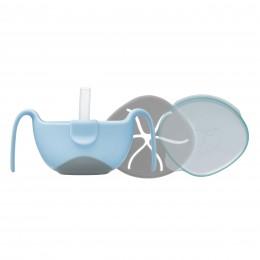 Bowl + Straw Set - Bubblegum Light Blue