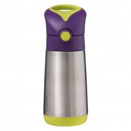 Insulated Straw Sipper Drink Water Bottle 350ml - Passion Splash Purple Green