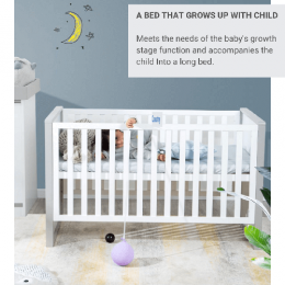 Cot and Baby Bed 3 in 1 - Grey and White
