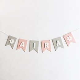 Flag Bunting - Pink and Grey