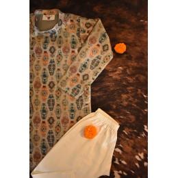Geometric Print Kurta Pyjama Set