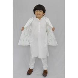 Kurta Pajama Set With Reversible Nehru Jacket - Polka/ Ferns