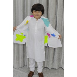 Kurta Pajama Set With Reversible Nehru Jacket - Stars/Flowers