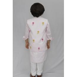 Kurta Pajama Set With Reversible Nehru Jacket - Sun/Flowers