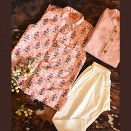 Mughal Jaal Nehru Jacket Set - Dusty Pink