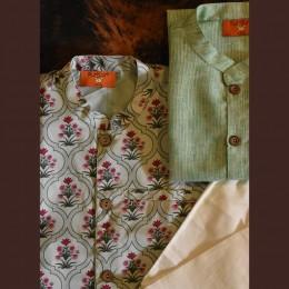 Mughal Jaal Nehru Jacket Set - Mint Green