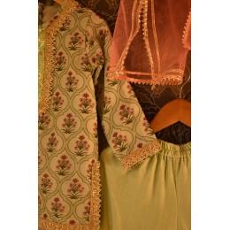 Mughal Jaal Sharara Set - Mint Green