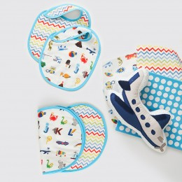New Beginnings Organic Muslin Gift Box - Alphabets-Blue
