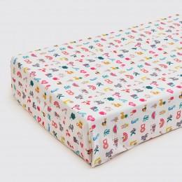 Alphabets Organic Crib Sheet - Pink