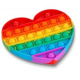 Push Pop Bubble Fidget Sensory Toy - Heart Rainbow