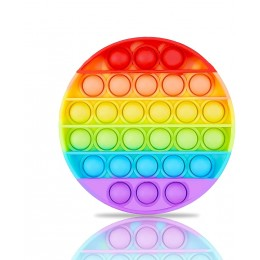 Push Pop Bubble Fidget Sensory Toy - Round Rainbow