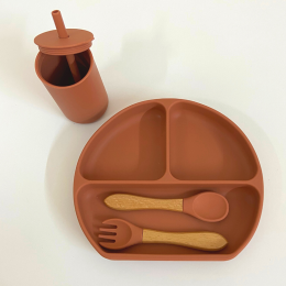 Silicon Suction Toddler Plate with Fork - Mustard Orange