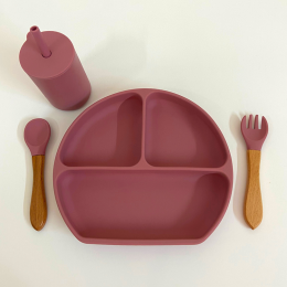 Silicon Suction Toddler Plate with Fork - Rose Pink